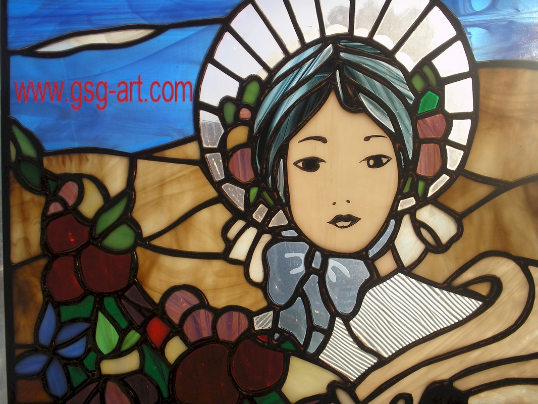 Picture Of Part View Of Pioneer Stained Glass Art Panel