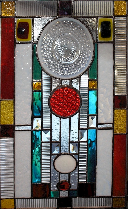 Picture of stained glass plate panel with antique truck tail-light